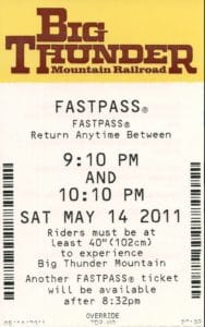 An old FastPass at Disney World