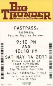 An old FastPass at Disney World