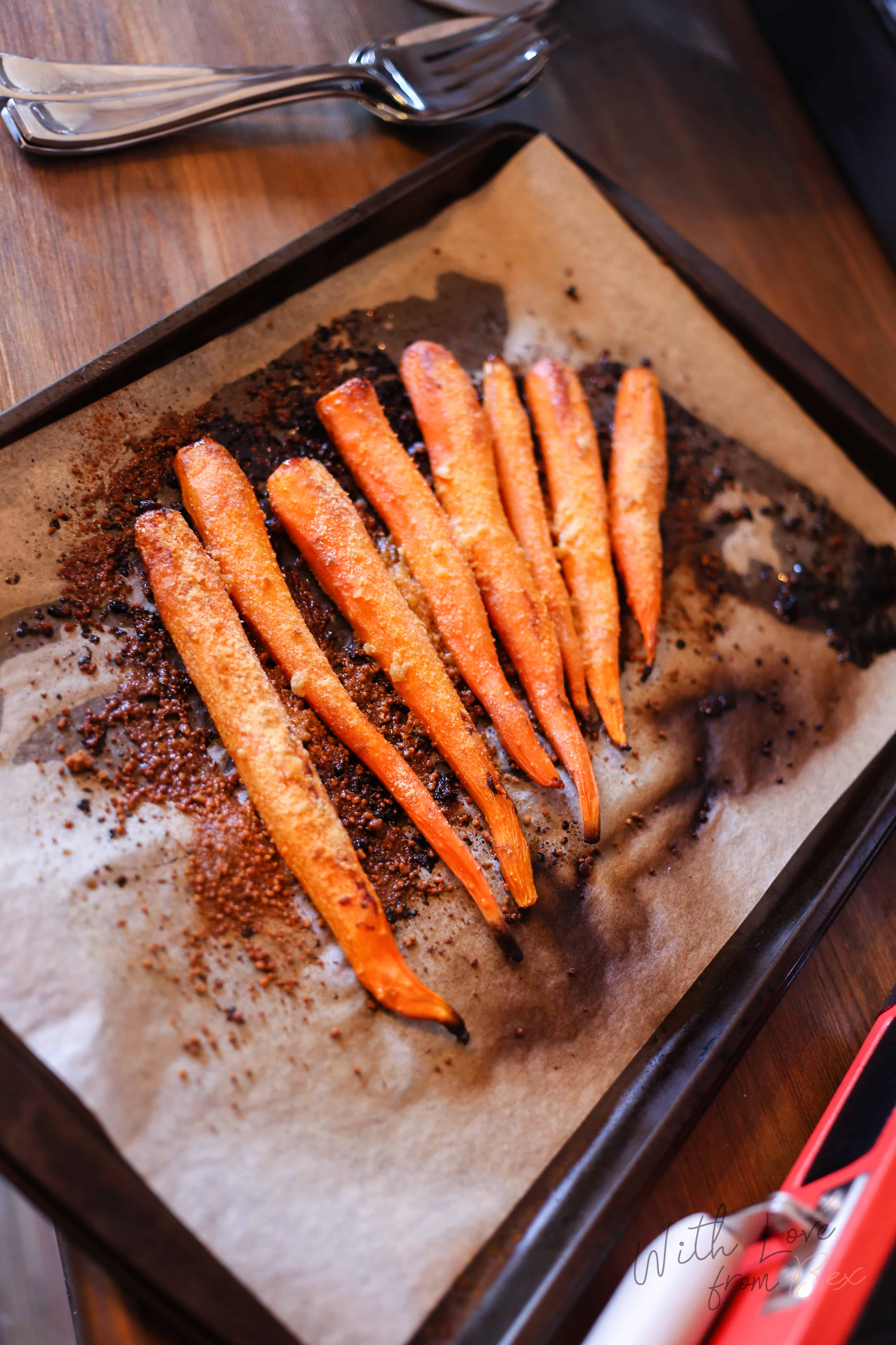 Roasted Garlic Parmesan Carrots