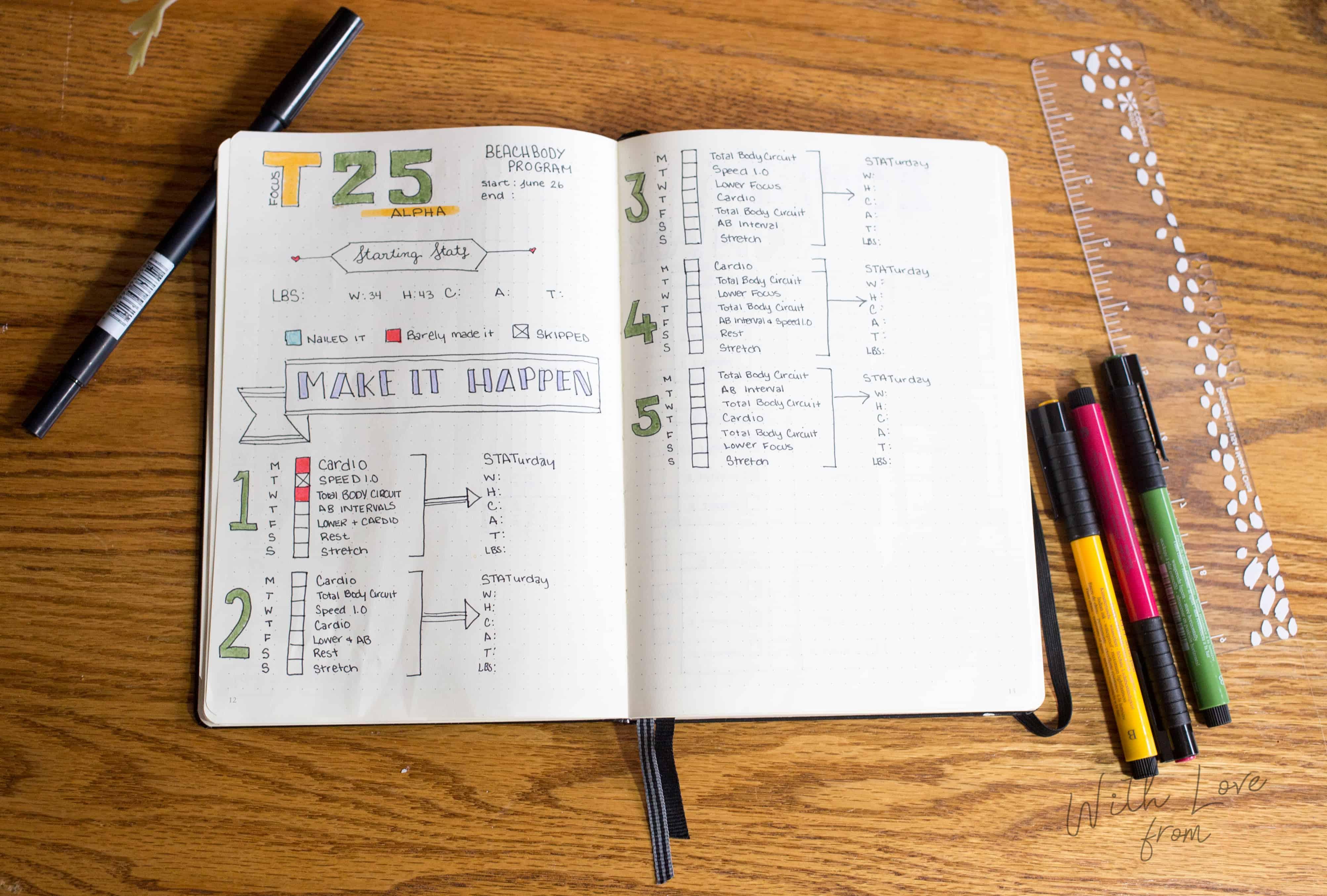 T25 Tracker Bullet Journal