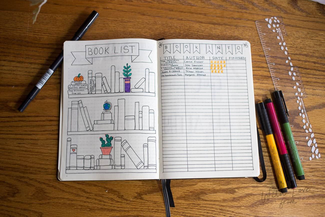 book list bullet journal