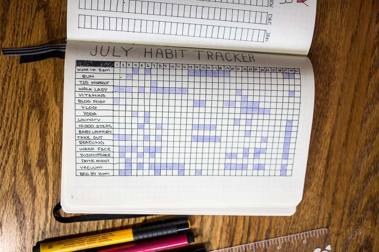 bullet journal monthly tracker