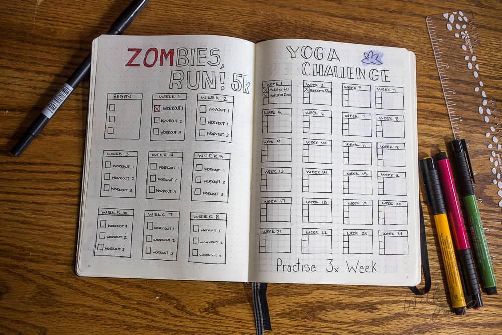 bullet journal exercise tracker